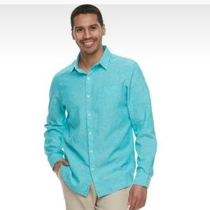 Marc Anthony Long Sleeve Linen Button Down Shirt